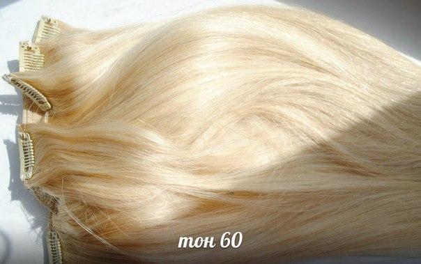 Волосы на заколках блонд